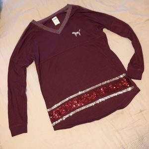 Victoria's Secret PINK Maroon Long Sleeve